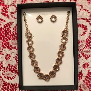 Jewelry - NWOT gold faux diamond necklace and earrings set